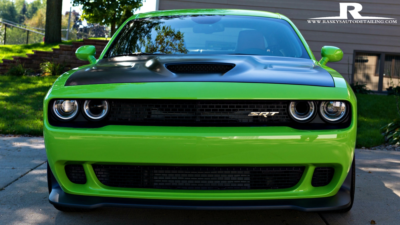 This Dodge SRT glows like the incredible Hulk after a ceramic nano coating by Raskys Auto Detailing of Minneapolis MN