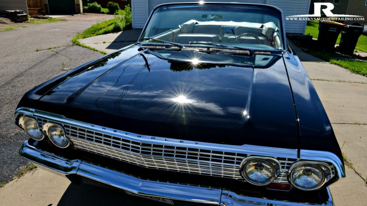 This 1963 Chevy Impala stuns all onlooker as she shines in the sun after Paint Correction by Raskys Auto Detailing of Minneapolis